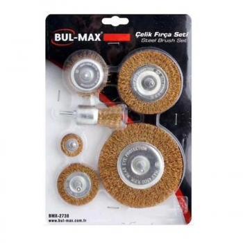 BUL-MAX Pimli Çelik Tel Fırça Seti 6'lı Matkap Hobi Fırça Set 6 PARÇA