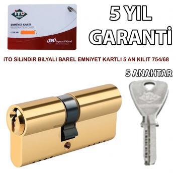 İto 754/68 mm Silindir Bilyalı Barel Emniyet Kartlı 5 Anahtarlı