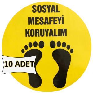 Sosyal Mesafeyi Koruyalım Etiketi Sticker 32 cm 10 ADET