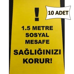 1,5 Metre Sosyal Mesafe Sağlığınızı Korur Uyarı Sticker 15x20 cm 10 ADET