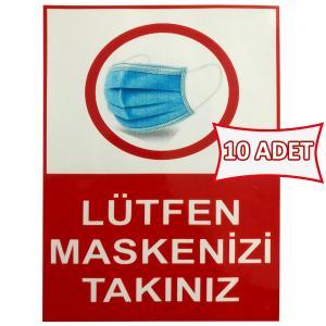 Lütfen Maskenizi Takınız Etiketi Sticker 15x20 cm 10 ADET