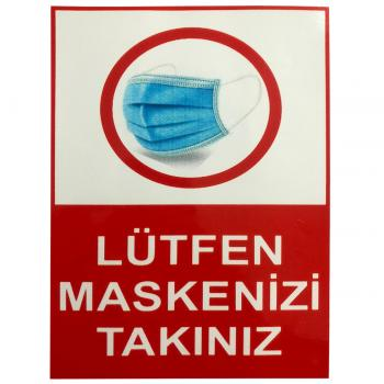 Lütfen Maskenizi Takınız Etiketi Sticker 15x20 cm