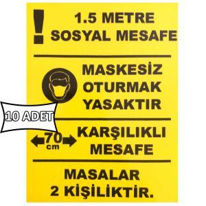 Yemek Masası Sosyal Mesafe Etiketi Sticker 15x20 cm 10 ADET