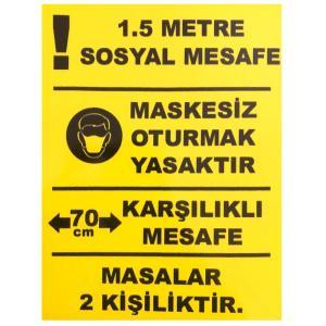 Yemek Masası Sosyal Mesafe Etiketi Sticker 15x20 cm