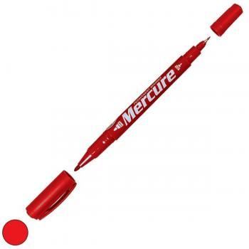 Mercure Marker Cd Kalemi Çift Uçlu İnce Kalın Kalem Kırmızı